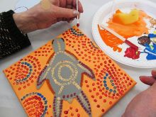 Acrylic Painting.  People looked at Aboriginal Art and learned how to re-create the effect using quick, simple techniques.