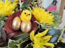 Will the chocolate eggs in this fresh flower display last until Easter . . . ?
