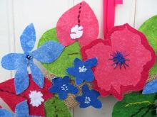 Applique flowers created in an Art & Craft activity we held for the Wreathmaking Challenge.