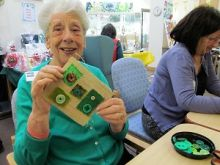 This simple Textiles Applique Workshop at Compton Care Hospice Wolverhampton was enjoyed by all abilities.  The activity was planned so that it could be worked on at the craft table or on a lap tray.